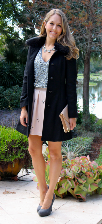 Black wool coat, silver sequins, blush skirt