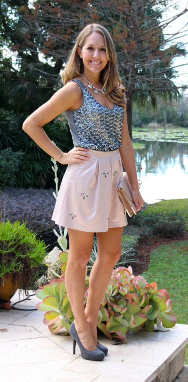 Banana silver sequin top with Limited blush pink skirt