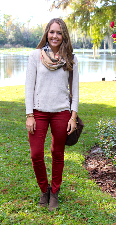 Plaid scarf, ivory sweater, burgundy jeans