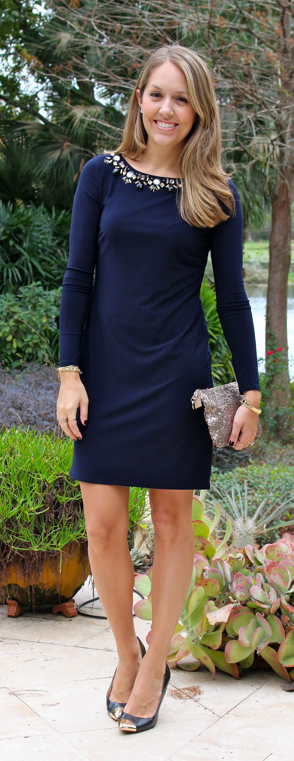 Vince Camuto navy sheath