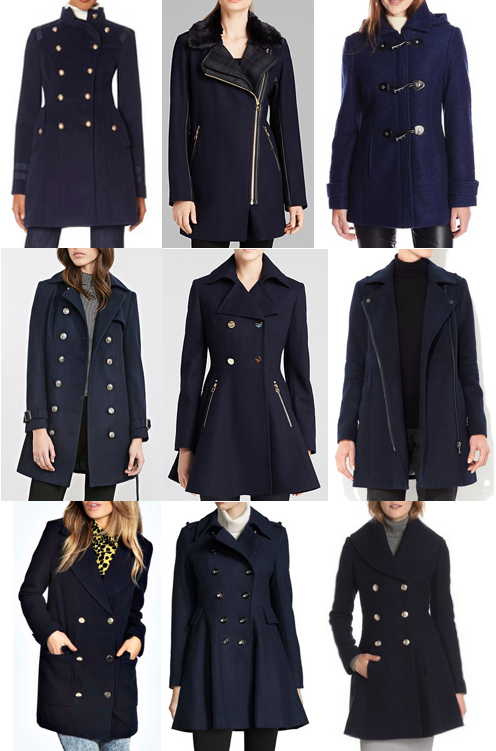 Navy wool coats on a budget