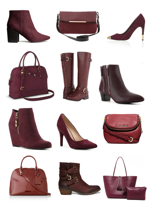 Burgundy purses and shoes