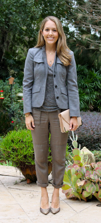 Gray blazer, tee, olive pants, python shoes