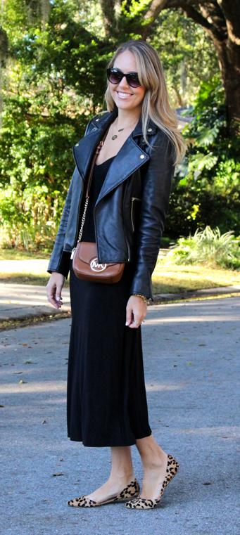 Black midi, black leather jacket, leopard flats