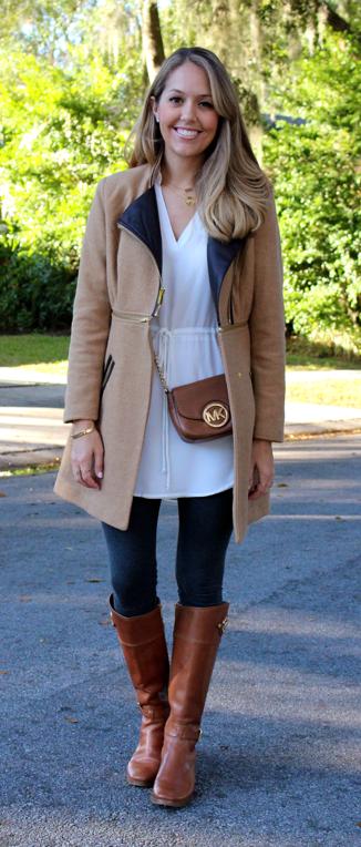 White tunic, camel coat, gray leggings, cognac boots