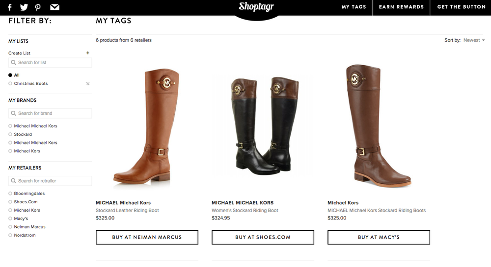 Shoptagr tags and organizes items you want to sale stalk!
