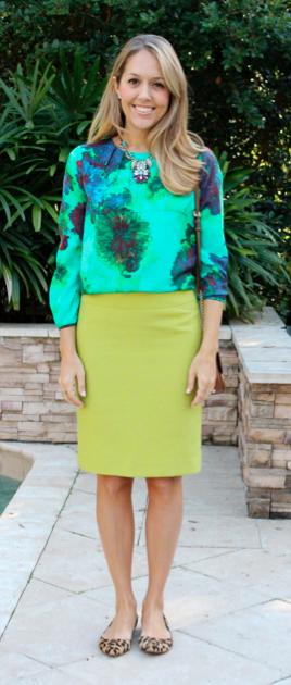 Emerald top, chartreuse skirt, leopard flats