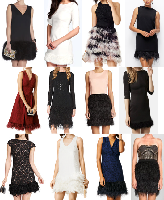Feather and faux fur trim dresses