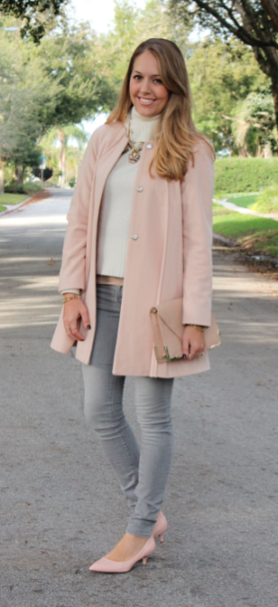 Pink coat, ivory sweater, gray jeans, pink pumps