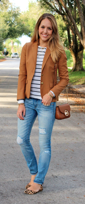 Camel blazer, striped top, leopard flats