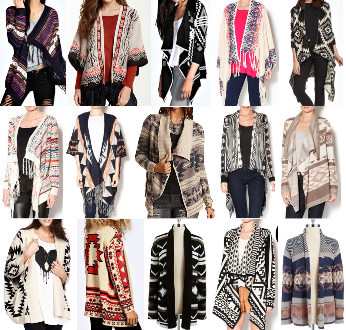 Printed cardigans on a budget