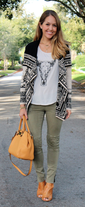 Aztec sweater, graphic tee, cargo pants