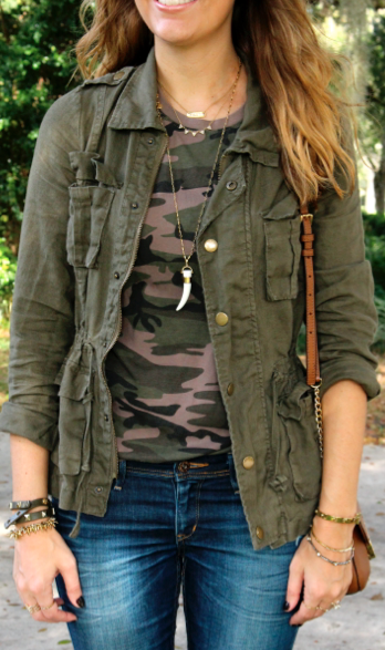 Military jacket with camo tee