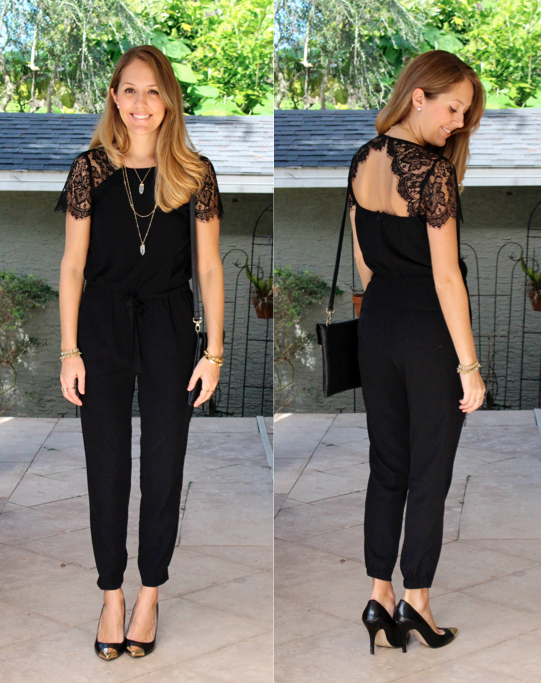 LOFT black lace jumpsuit