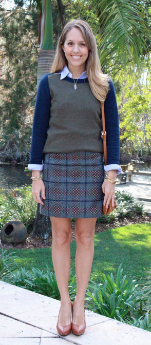 Oxford, colorblock sweater, plaid wool skirt