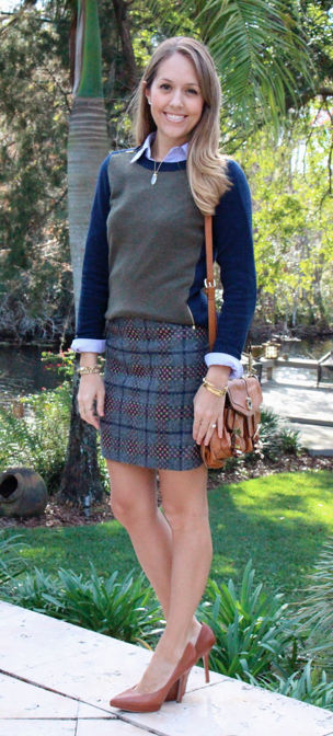 Colorblock sweater, oxford, plaid skirt