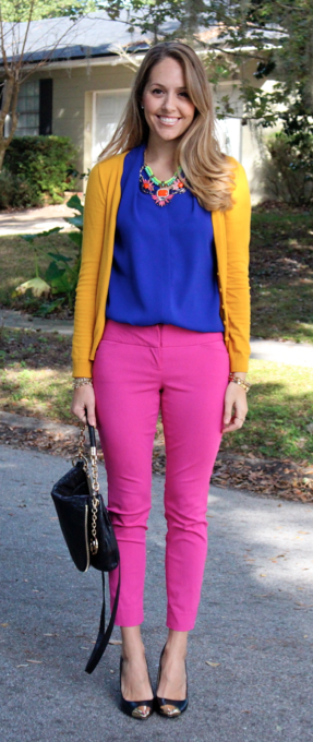 Pink pants, cobalt top, mustard cardigan