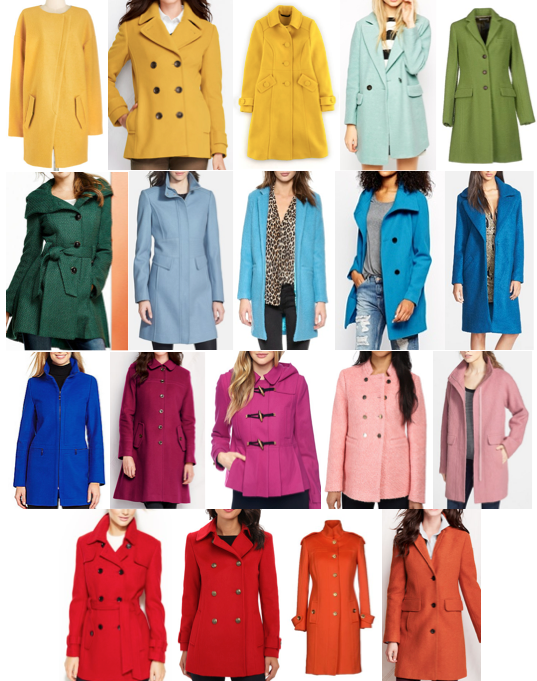 Colorful coats under $250