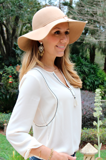 Wool floppy hat, ivory fringe J.Crew top, Stella & Dot earrings