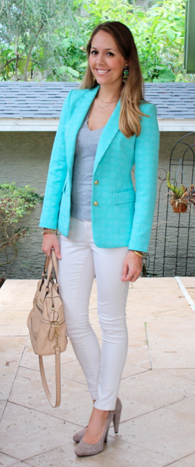Turquoise blazer, gray sweater, ivory jeans