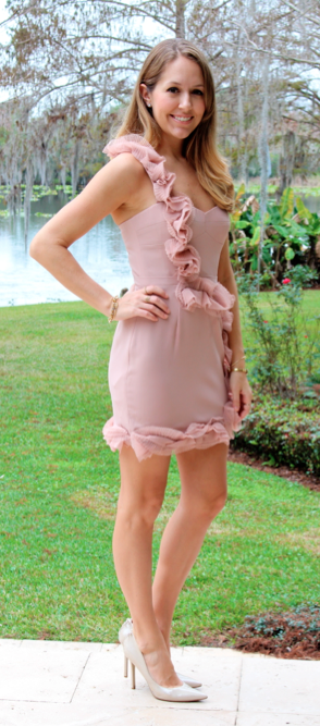 BCBG Blush Pink one shoulder dress
