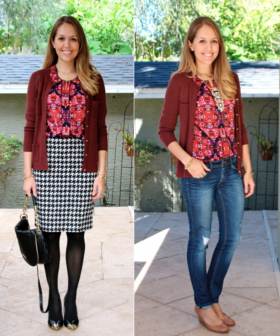 Same top and sweater, worn two ways