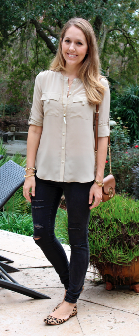 Banana pocket tab silk top