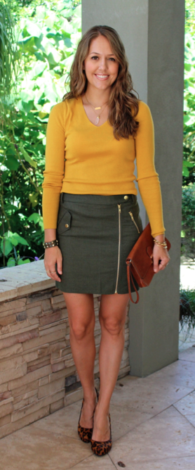 Mustard sweater, olive skirt, leopard shoes