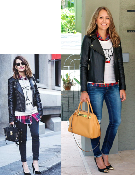Leather jacket, graphic sweater, red plaid top