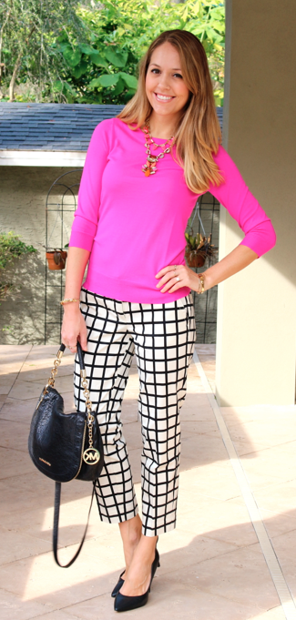 Hot pink sweater, grid print pants