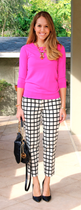 Pink sweater, printed pants