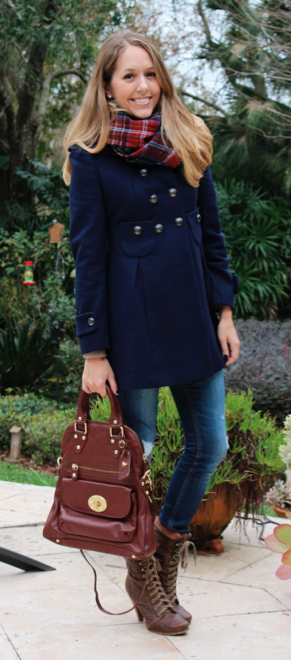 Navy coat, plaid scarf, lace up boots