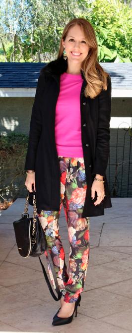 Black coat, pink sweater, floral pants