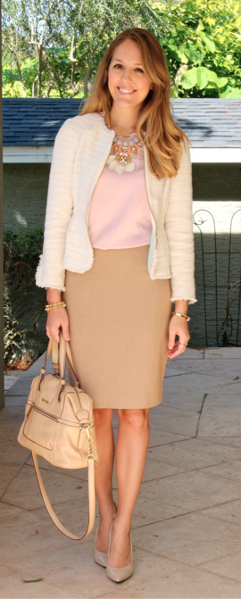 Tweed jacket, blush top, pencil skirt
