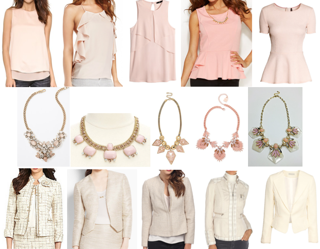 Blush pink tops, statement necklaces and tweed jackets on a budget