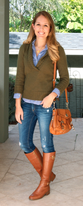 Olive sweater, blue gingham, cognac riding boots