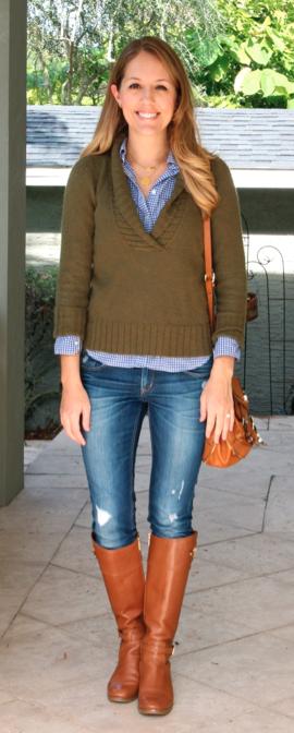 J.Crew sweater, Gap top, Michael Kors boots