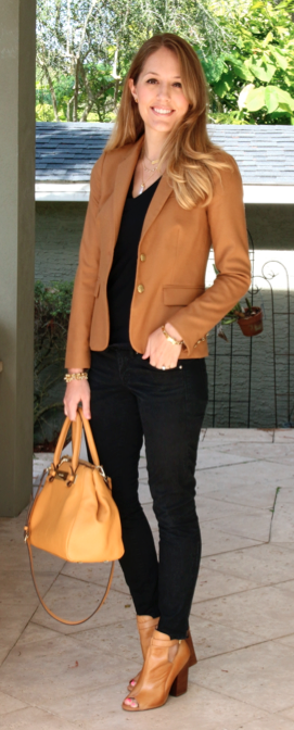 Camel blazer, black top, black jeans, camel booties