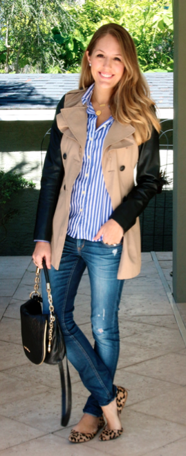 Leather sleeve trench, striped button front, leopard flats
