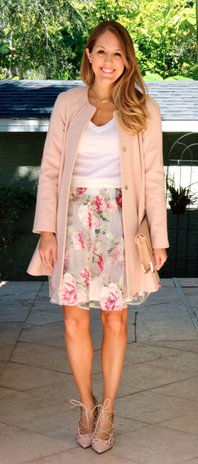 Pink coat, floral skirt, lace up pumps