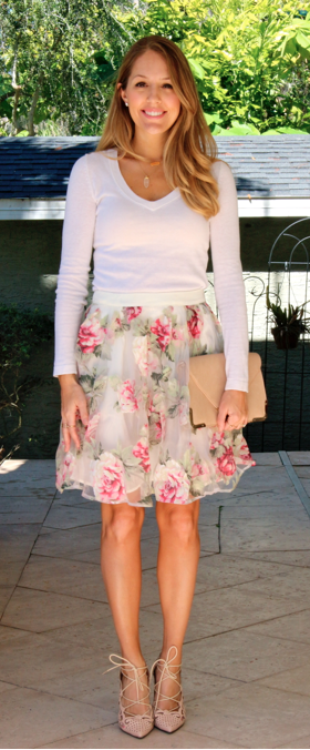 Vneck sweater, floral skirt, lace up pumps
