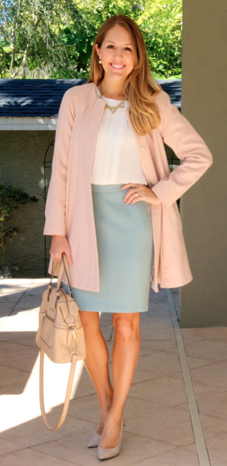 Pink coat, white pleated top, mint skirt
