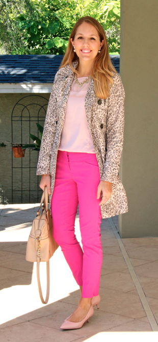 Leopard trench with pink pants