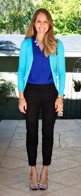 Aqua cardigan, cobalt top, striped pumps