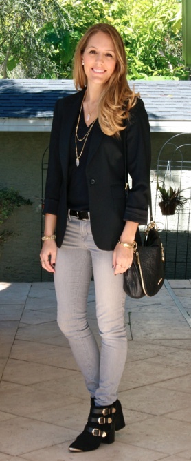 Black blazer, gray jeans, black booties