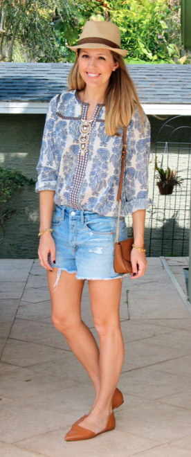 J.Crew factory peasant top with denim shorts