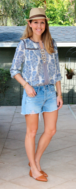 Boho peasant top with denim shorts