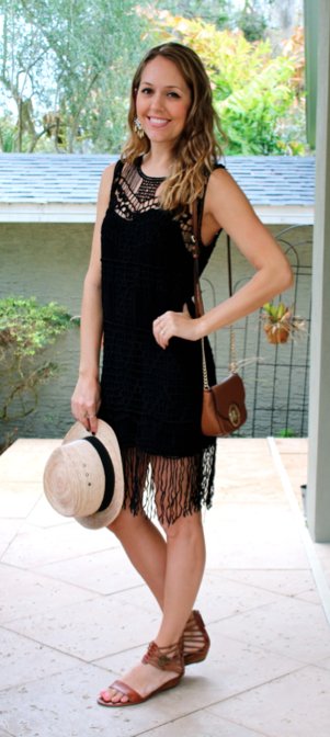 Black fringe dress with brown sandals