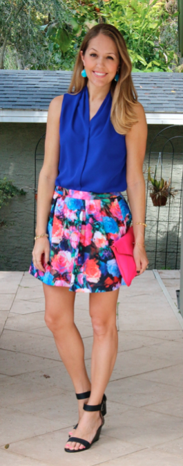 Cobalt top, Express floral skirt, pink clutch