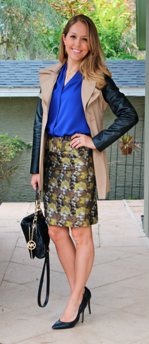 Leather sleeve trench, cobalt top, brocade skirt